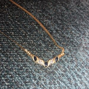 Jewelry - 14k Gold chain diamond sapphire necklace
